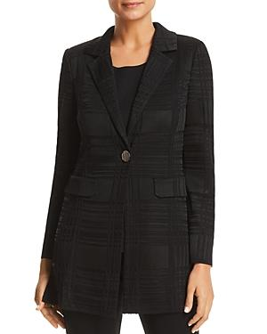 Misook Plaid Knit Blazer In Black