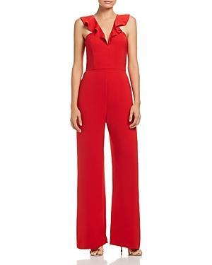 Wayf Sheryl Ruffle Jumpsuit In Red