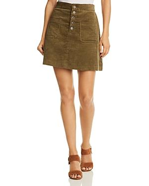 Lost And Wander Lost + Wander Alicia Button-detail Corduroy Mini Skirt - 100% Exclusive In Olive