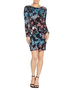 Dress The Population Lola Velvet & Sequined Floral Print Mini Dress In Black Multi