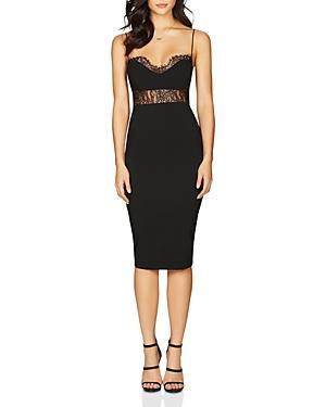 Nookie Chloe Lace Panel Midi Dress In Black