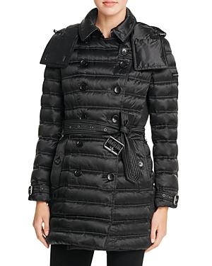 Burberry Chesterford Mid-length Down Puffer Coat In Black