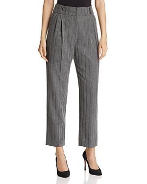Emporio Armani Cropped Metallic Stripe Pants In Gray Multi