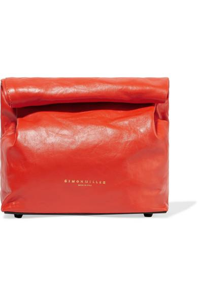 Simon Miller Lunchbag 20 Leather Clutch In Red