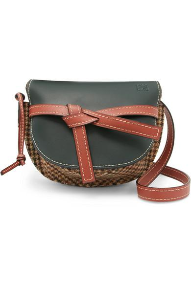 Loewe Gate Small Leather And Tweed Shoulder Bag In Multicoloured