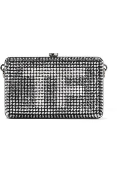 Tom Ford Crystal-embellished Suede Clutch In Silver