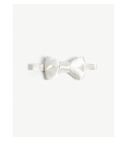 Tom Ford Solid Satin Bow Tie In Silver
