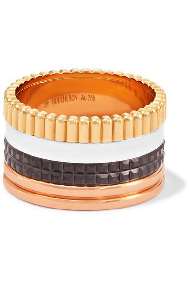 Boucheron Quatre Classique Large 18-karat Yellow, Rose And White Gold Ring