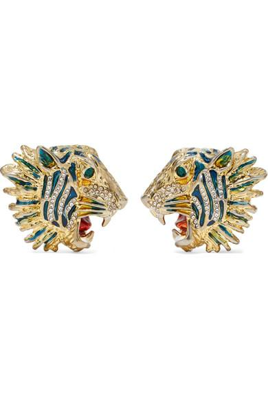 Gucci Gold-plated, Crystal And Enamel Earrings