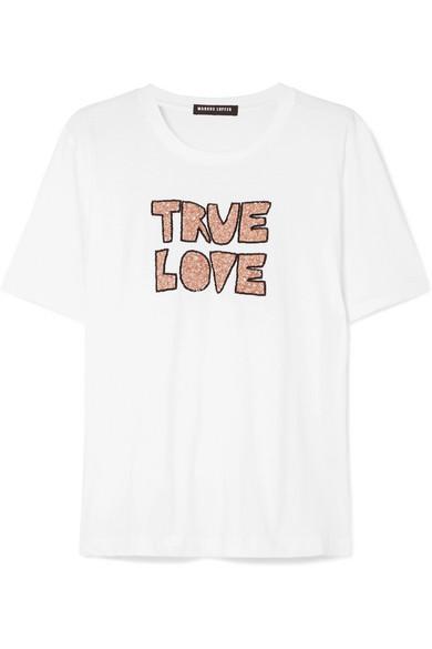 Markus Lupfer Alex Sequined Cotton-jersey T-shirt In White