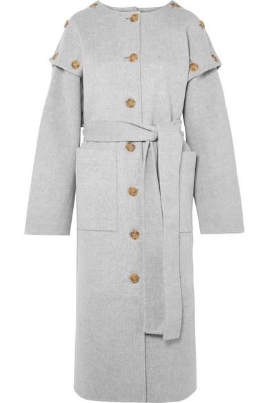 Rejina Pyo Simone Button-detailed Wool-blend Felt Coat In Gray