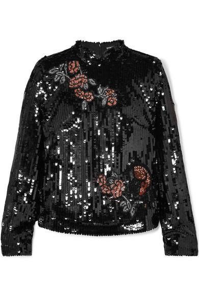 Markus Lupfer Valentine Sequined Tulle Top In Black