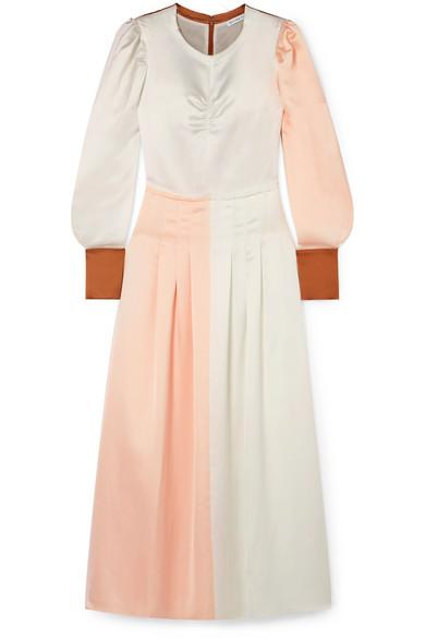 Rejina Pyo Steffy Color-block Satin Maxi Dress In Blush