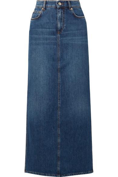 Ganni High-rise Denim Midi Skirt In Mid Denim