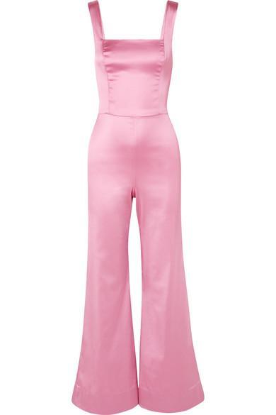 Staud Donna Stretch-satin Jumpsuit In Baby Pink
