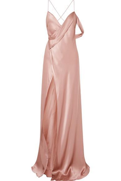 Michelle Mason Draped Silk-charmeuse Gown In Blush