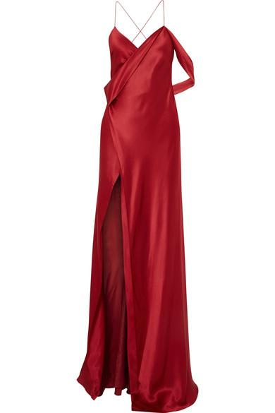 Michelle Mason Draped Silk-charmeuse Gown In Red