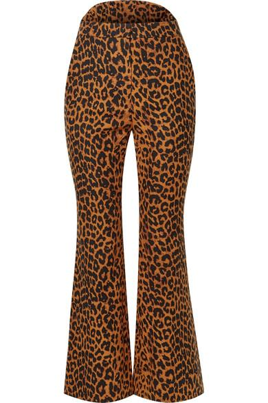 Pushbutton Leopard-print Cotton Flared Pants In Leopard Print