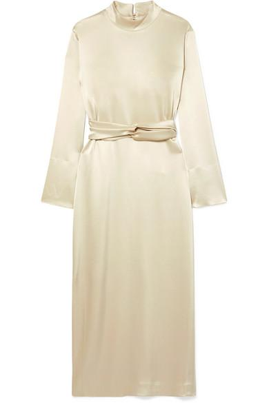 Nanushka Sadie Belted Satin Midi Dress In Cream