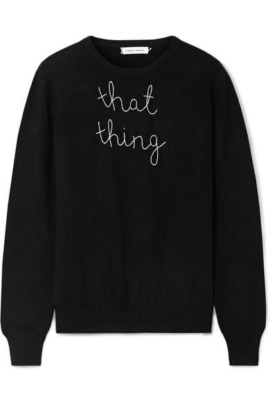 Lingua Franca That Thing Embroidered Cashmere Sweater In Black