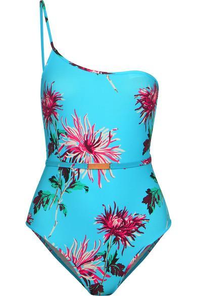 Diane Von Furstenberg One-shoulder Belted Floral-print Swimsuit In Turquoise