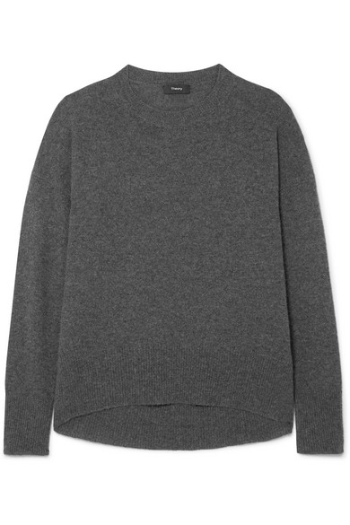 Theory Karenia Cashmere Knit Top In Charcoal