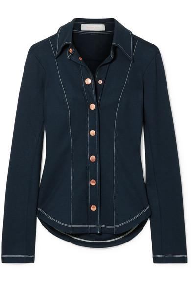 See By ChloÉ Stretch-jersey Shirt In Navy