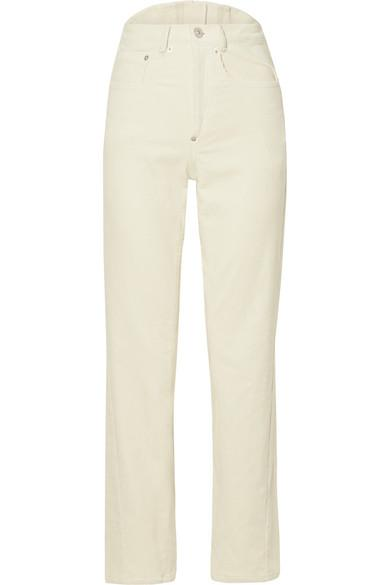 Pushbutton Cotton-blend Corduroy Straight-leg Pants In White