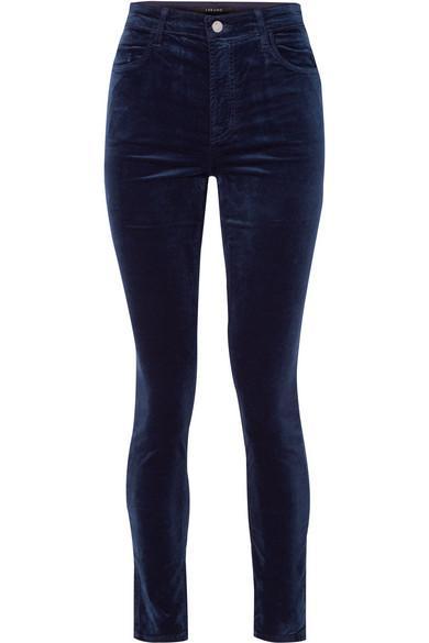 J Brand Maria Cotton-blend Velvet Skinny Pants In Midnight Blue