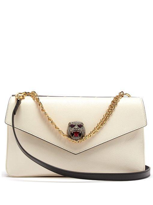Gucci Thiara Gg Panther-head Cross-body Bag In Black White