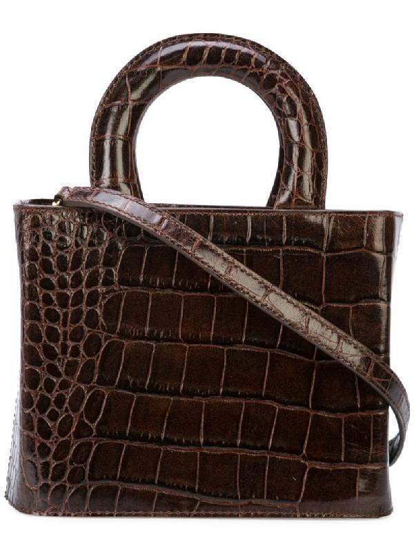 Staud Nic Crocodile Effect Leather Bag In Brown