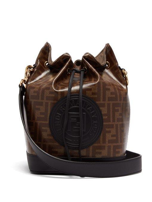 Fendi Mon Tresor Ff-jacquard Leather Bucket Bag