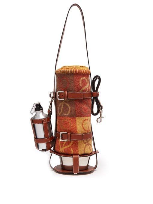 Loewe Leather Dog Lead, Feeder Bag & Wool Blanket In Brown Multi