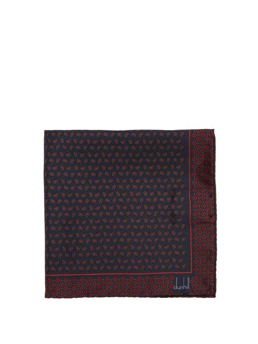 Dunhill Paisley-print Silk Pocket Square In Navy Multi