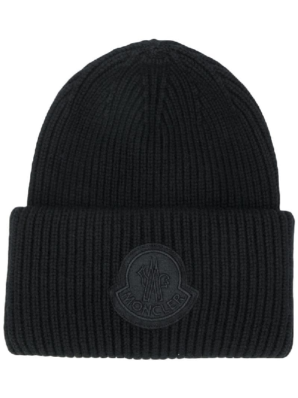 Moncler Logo Virgin-wool Beanie Hat In Black
