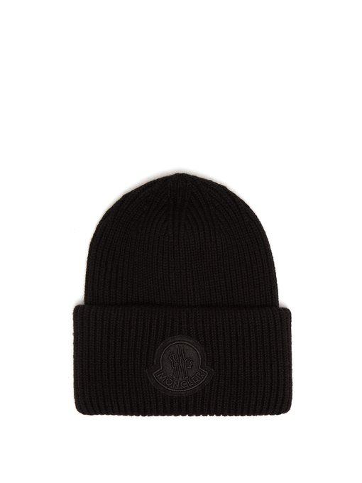 1354e8b699a Moncler 2 1952 - Logo Virgin Wool Beanie Hat - Mens - Black