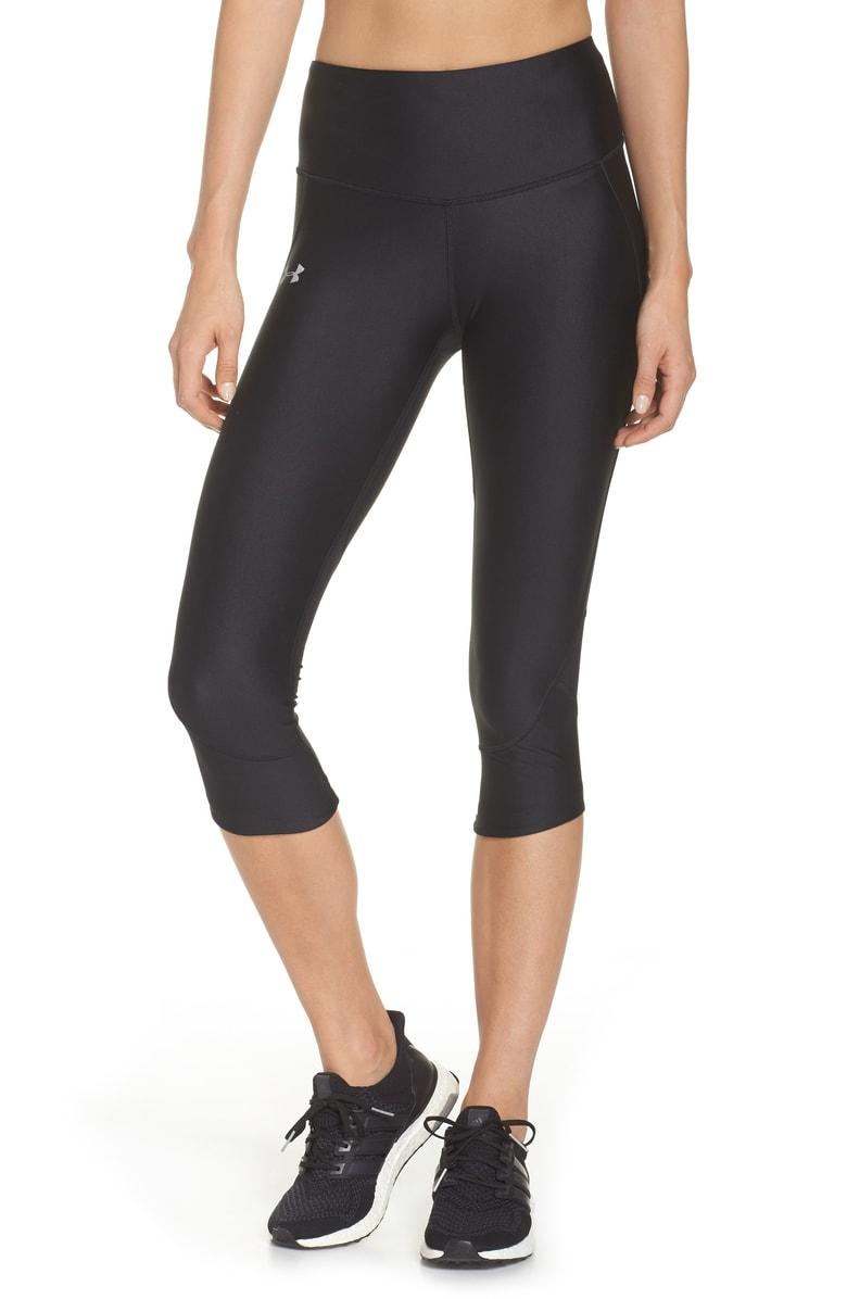 Under Armour Fly Fast Heatgear Capri Running Leggings In Black/reflective