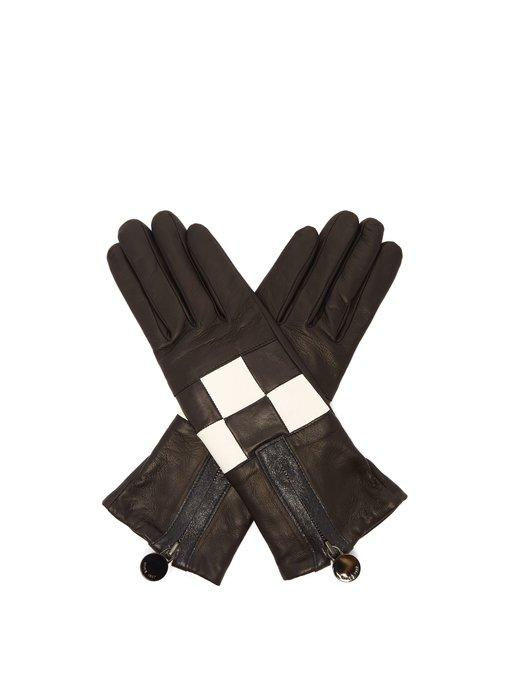 Agnelle Argi Leather Checkerboard Gloves In Black