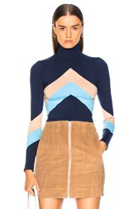 Joostricot Bodycon Long Sleeve Turtle Neck In Blue,neutral,stripes