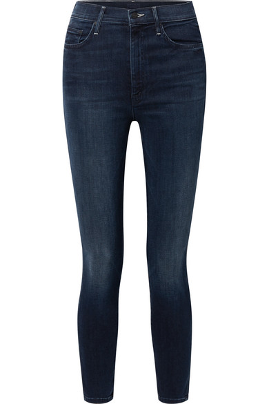 Mother Swooner High-rise Ankle Skinny Jeans In Squeeze Play In Dark Denim