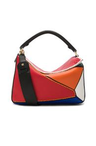 Loewe Puzzle Patchwork Bag In Red