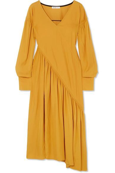 Adeam Asymmetric Cady Dress In Gold