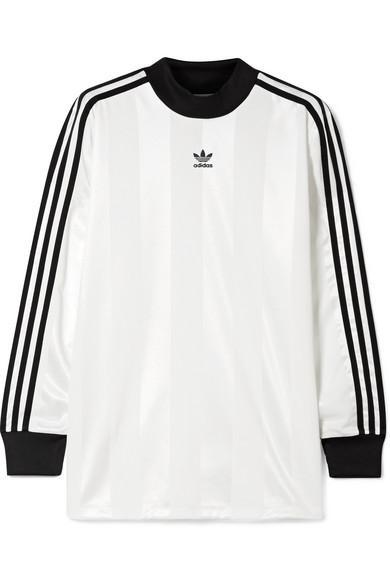 Adidas Originals Striped Satin-jersey Top In White