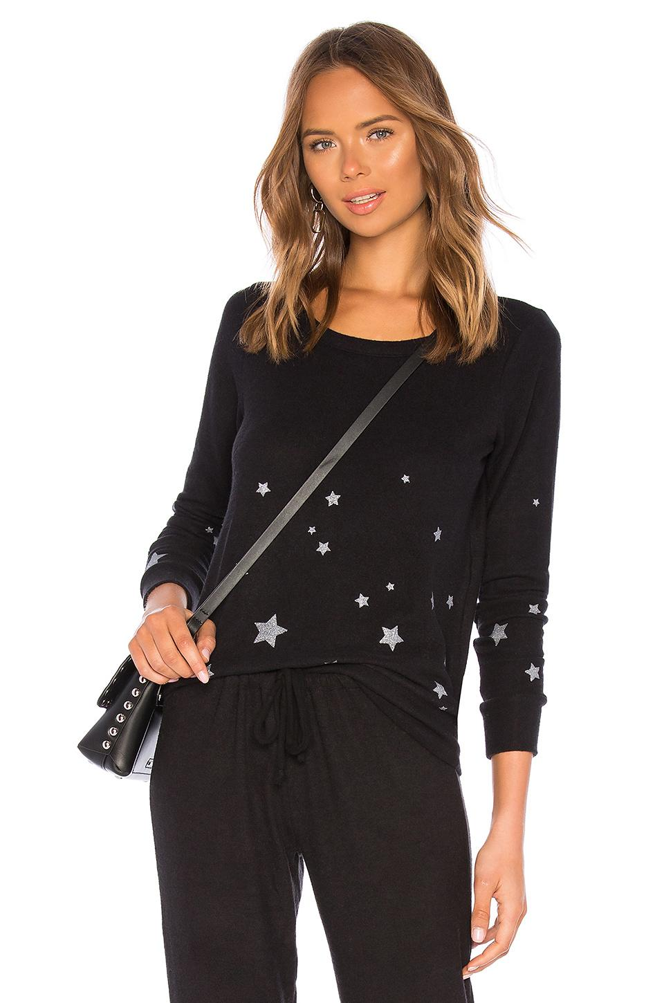 Chaser Starry Night Pullover In Black