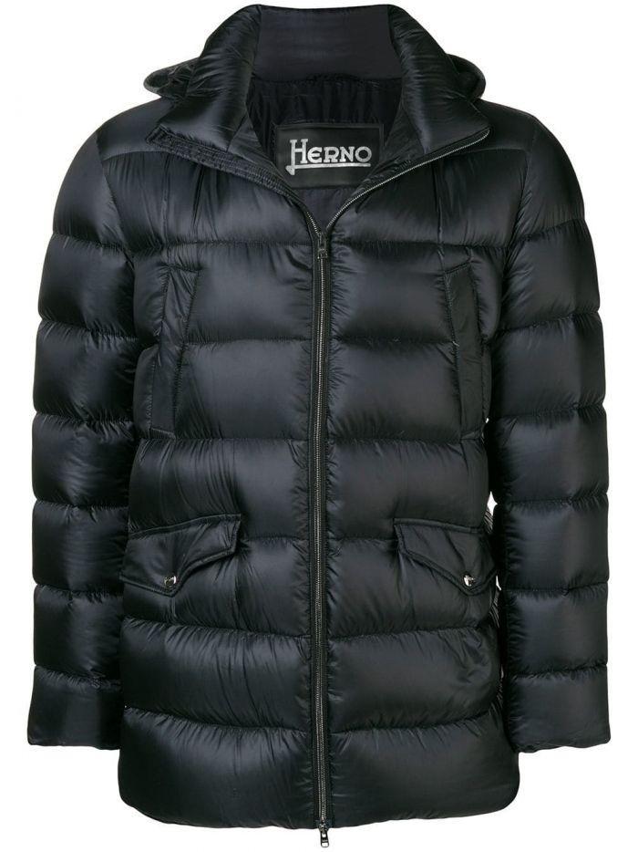 Herno Black Padded Detachable Hooded Coat
