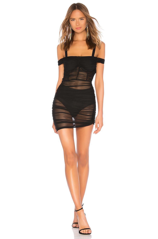 Danielle Guizio Lynx Ruched Dress In Black