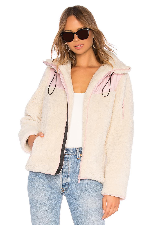 Lpa Sherpa Fleece Jacket In Cream. In Ivory & Pink