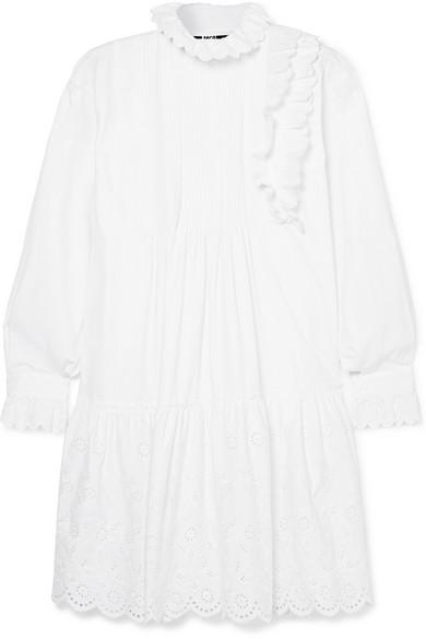 Mcq By Alexander Mcqueen Ruffled Broderie Anglaise Cotton Mini Dress In White