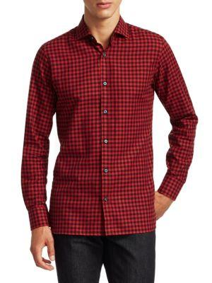 Z Zegna Cotton Check Shirt In Red Black