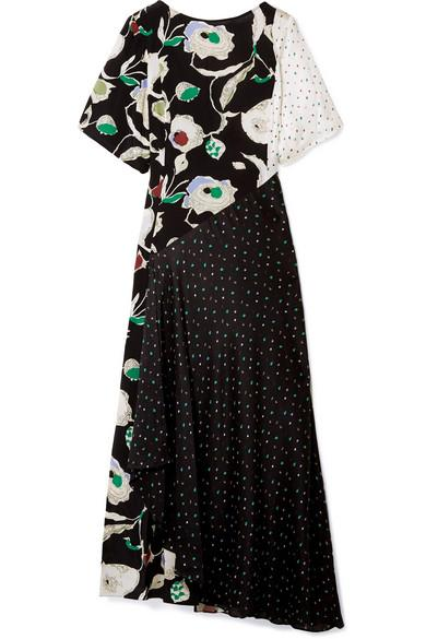 Jason Wu Grey Crinkled Printed Silk-chiffon And Crepe De Chine Maxi Dress In Black
